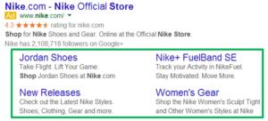 Sitelinks van Nike